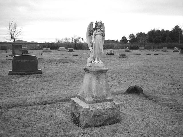 Mountain view cemetery. Saranac lake area.  NY. USA . March 29th 2009- B & W