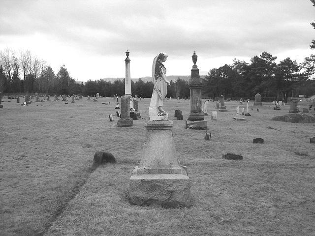 Mountain view cemetery / Saranac Lake area.  NY. USA . March 29th 2009 -  B & W
