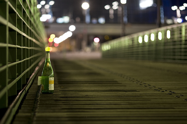 Bottle on a bridge