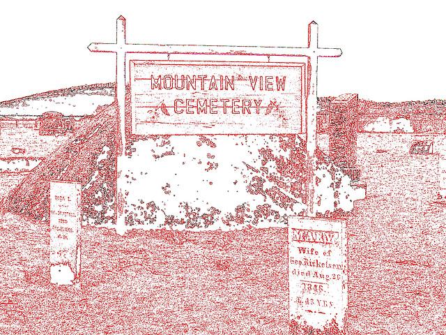 Mountain view cemetery. Saranac lake area.  NY. USA . March 29th 2009 - Contours de couleurs et couleurs ravivées