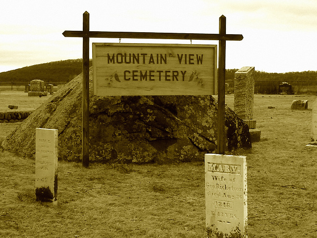 Mountain view cemetery. Saranac lake area.  NY. USA . March 29th 2009 -  Sepia