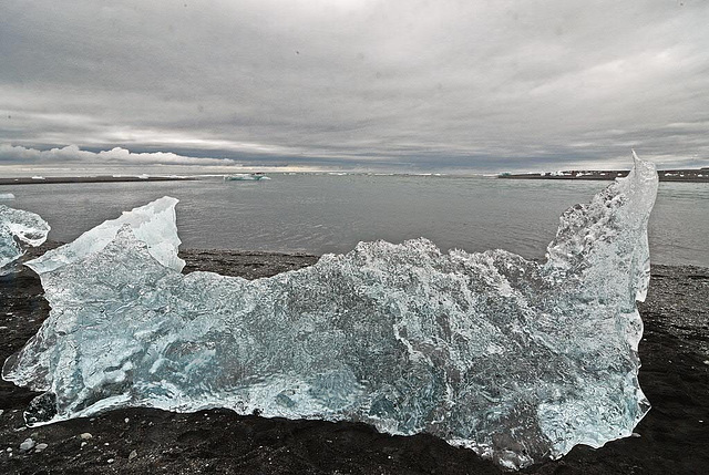 Natural ice sculpture on the black beach of Jökulsárlón