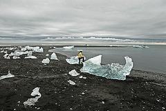Ice rocks on the black beach