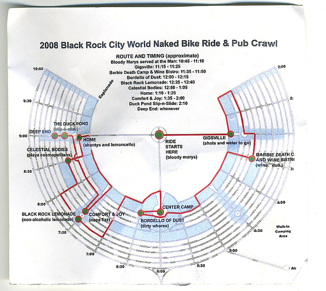 World Naked Bike Ride - Black Rock City - Map