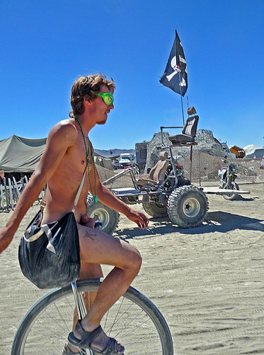 World Naked Bike Ride - Unicyclist (0695)