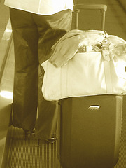 White blouse Lady in stiletto heels - Brussels airport /  19-10-2008   - Sepia