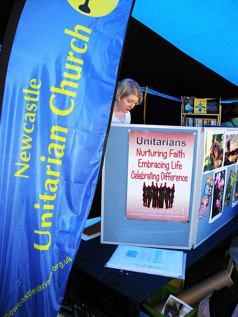 Stand at Green Festival showing our new flag