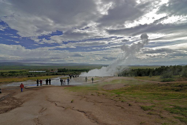 The Geysir erupts just a few seconds
