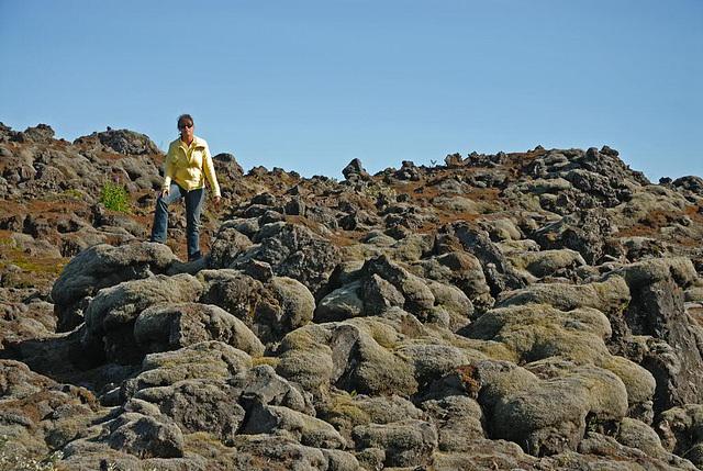 Climbing on the lava hills