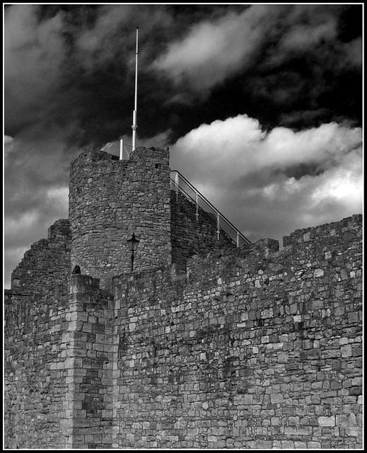 Dark skies over the city walls Southampton