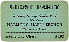 Halloween Ghost Party Ticket, Reading, Pa., 1954