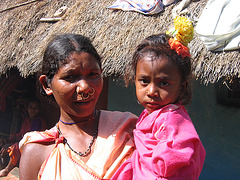 Orissa tribal with her child
