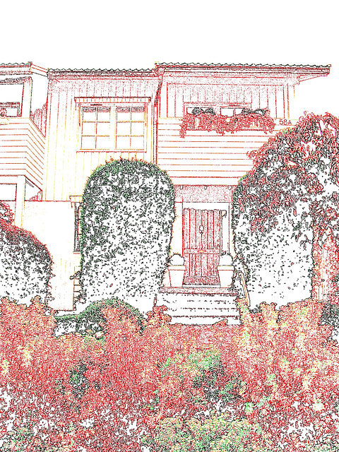 House entrance among the greenery -  Porte d'entrée invitante parmi la verdure - Båstad, Suède - Colourful outlines