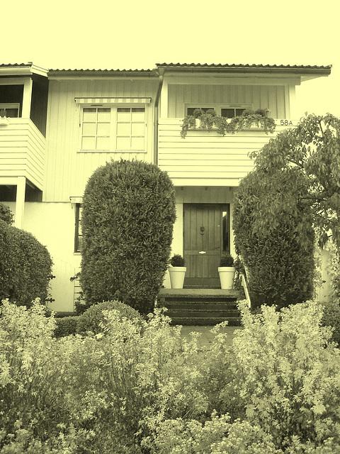 House entrance among the greenery -  Porte d'entrée invitante parmi la verdure - Båstad, Suède -  Vintage artwork.
