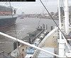 "The QM2 seen from the webcam of the ship ""Cap San Diego"", Hamburg, Germany, entering the shipyard / QM2-01"