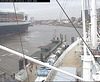 "The QM2 seen from the webcam of the ship ""Cap San Diego"", Hamburg, Germany, entering the shipyard / QM2-02"