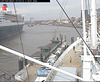 "The QM2 seen from the webcam of the ship ""Cap San Diego"", Hamburg, Germany, entering the shipyard / QM2-03"