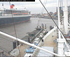 "The QM2 seen from the webcam of the ship ""Cap San Diego"", Hamburg, Germany, entering the shipyard / QM2-04"