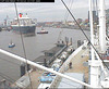 "The QM2 seen from the webcam of the ship ""Cap San Diego"", Hamburg, Germany, entering the shipyard / QM2-05"