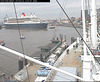 "The QM2 seen from the webcam of the ship ""Cap San Diego"", Hamburg, Germany, entering the shipyard / QM2-06"