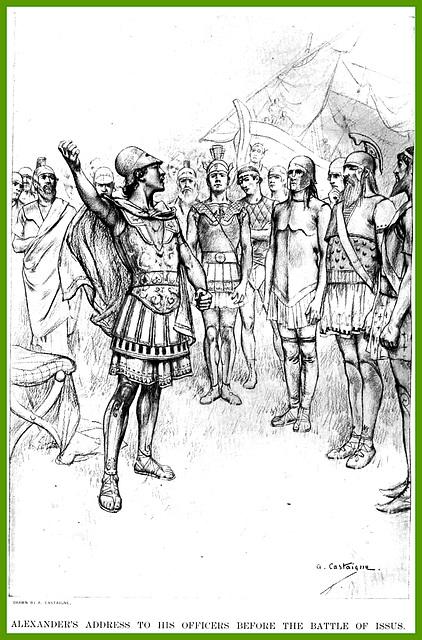 Alexandre le Grand harangue ses officiers