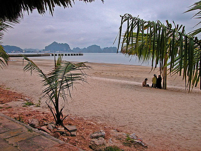 At the beach in Hạ Long Bay