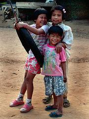 Kiddies playing in Baan Khok