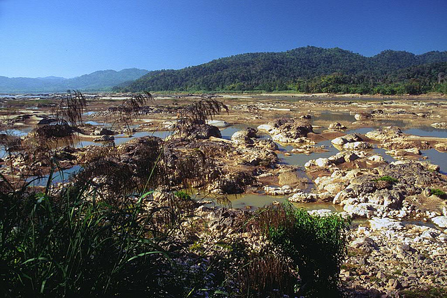 Mekong with low water level caused by reckless Chinese dam projects