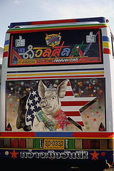 Air brush painting on a bus rear