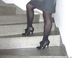 Elsa - Short stilettos boots and sexy skirt in stairs  -  Avec permission - Lightened with photofilter