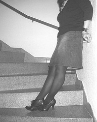 Elsa - Short stilettos boots and sexy skirt in stairs  -  With permission - B & W with photofilter