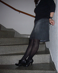 Elsa - Short stilettos boots and sexy skirt in stairs -  With  /  Avec permission - Original shot