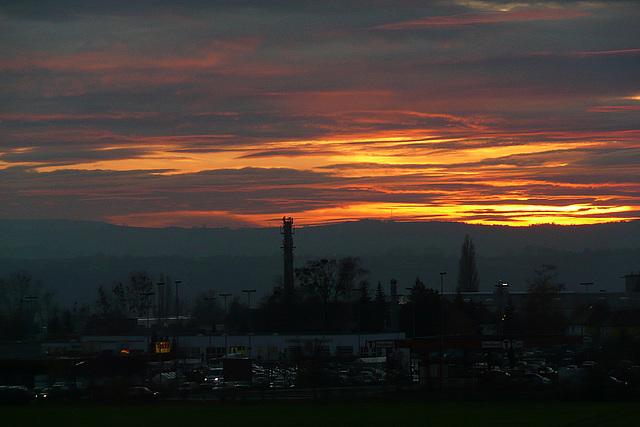 Sonnenuntergang über Pirna und dem Osterzgebirge
