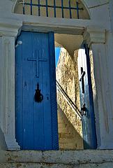 Light behind blue door.......