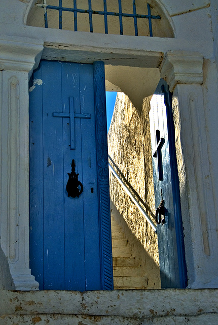 Light behind blue door.......