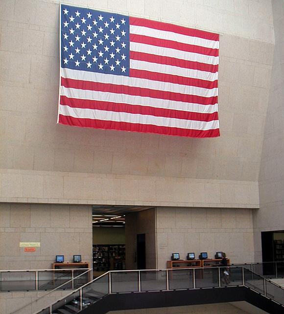 Flag at Boston Public Library