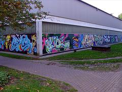 Mit Grafittiwand verschönerte Aldi - Rückseite