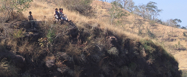 Boys up on the cliff