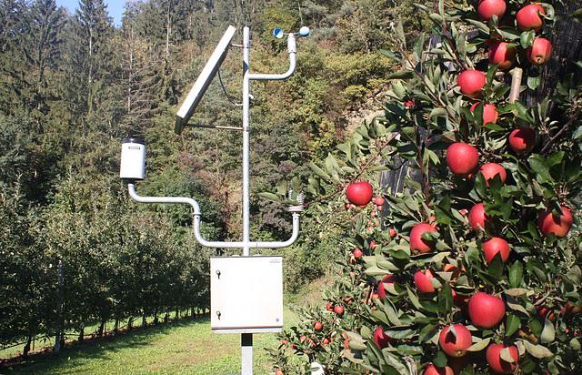 autarke Messstation zwischen den Äpfelplantagen / English see down