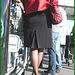 Blonde mature en talons couperets et jupe sexy- Mature blond in chopper slingbacks heels and sexy skirt- Montreal airport- Aéroport de Montréal