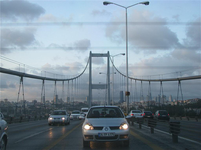 driving over the Fatih Sultan Mehmet bridge