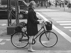 7 store readhead Danish mature Lady biker in colourful pale high-heeled boots - Copenhagen -  20-10-2008- B & W.
