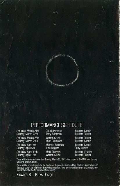 SaintBlackParty1987.PerformanceSchedule
