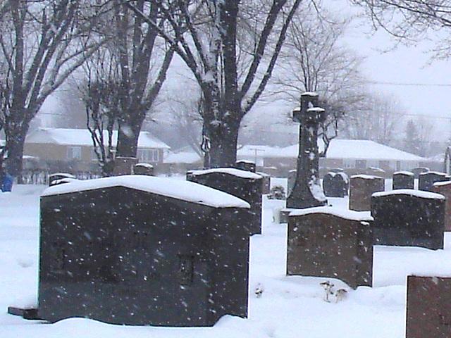 Croix et monuments sous la neige tombante   /  Cross and monuments under the falling snow  -  Dans ma ville  /  Hometown - 18 janvier 2009