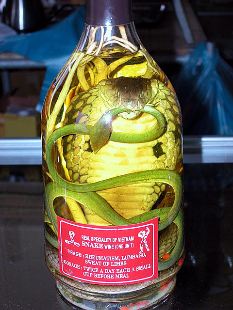 Rượu rắn, snake wine and its instruction