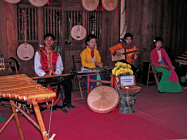 Music group inside the Văn Miếu Temple of Literature