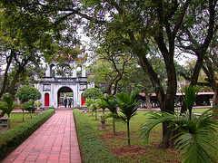 The main entrance to Văn Miếu, the Temple of Literature to the first court yard