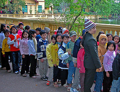 Viet kids waiting to visit Uncle Stilt Ho's house