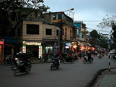 Busy roads in the Hoàn Kiếm Lake district