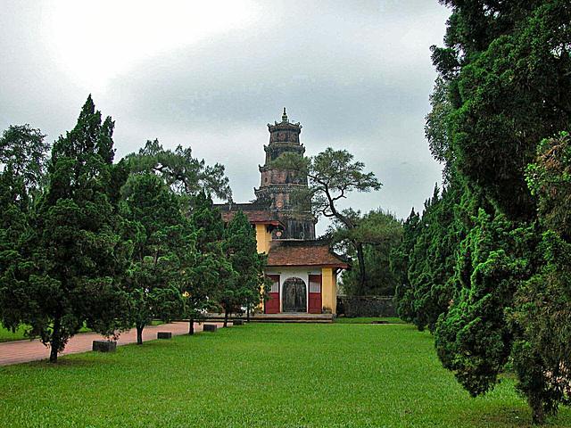 In the park behind the Thiên Mụ Pagoda